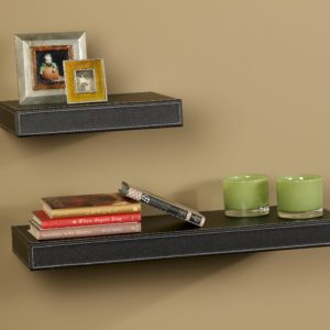 Contemporary Leather Shelving with Hidden Bracket System