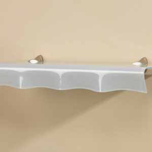 Oyster Opaque Glass Shelf with Extended Curved Lip Design