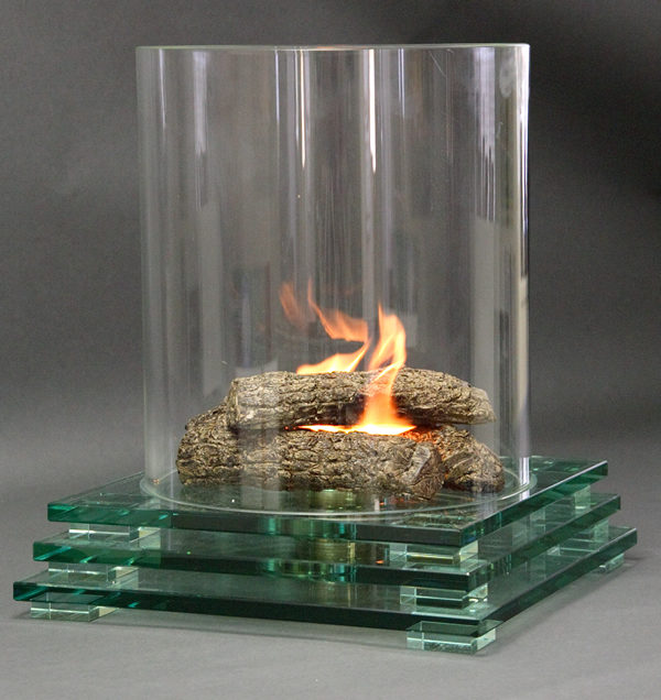 Firenze Glass Fireplace with Square Base
