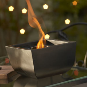 Cement and Fiberglass Firepot in Black/Brown Finish